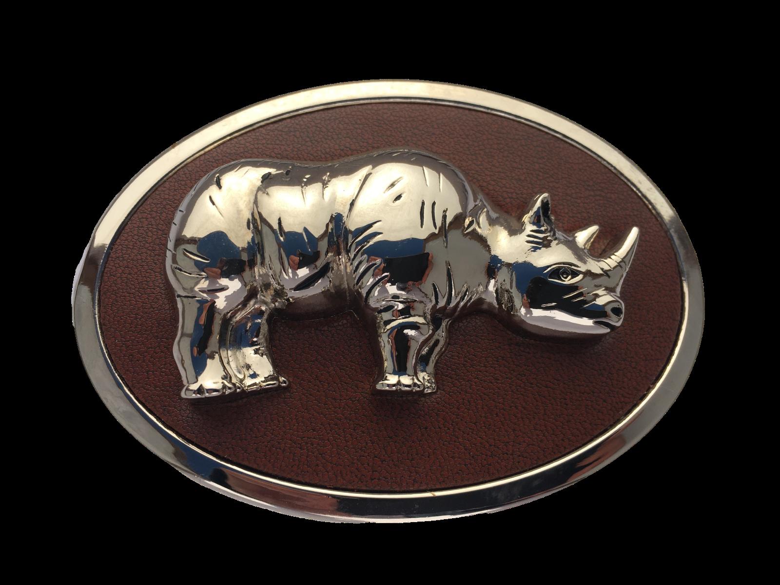 Belt Buckle Rhino on Leather Silver Rhinoceros 40mm Cool Stylish Biker Western
