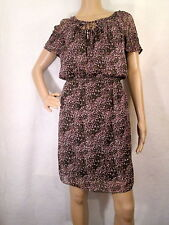 MAX STUDIO Brown, Purple & White Geometric Short Sleeves Blouson Dress, Size MED