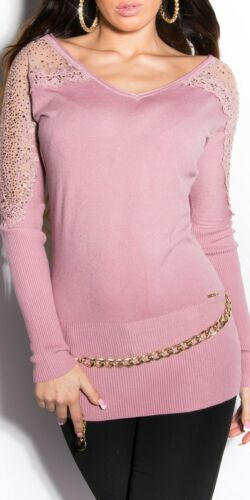 Koucla Longpullover Pullover Sweater Long Pulli mit Spitze Strass
