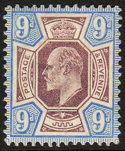 SG 250 9d Dull Purple and Ultramarine M39(1) in fine and fresh mounted mint .