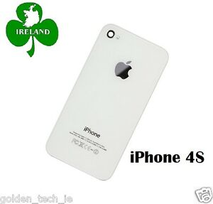 For-iPhone-4S-Back-Battery-Cover-Glass-Plate-Housing-Replacement-White-New