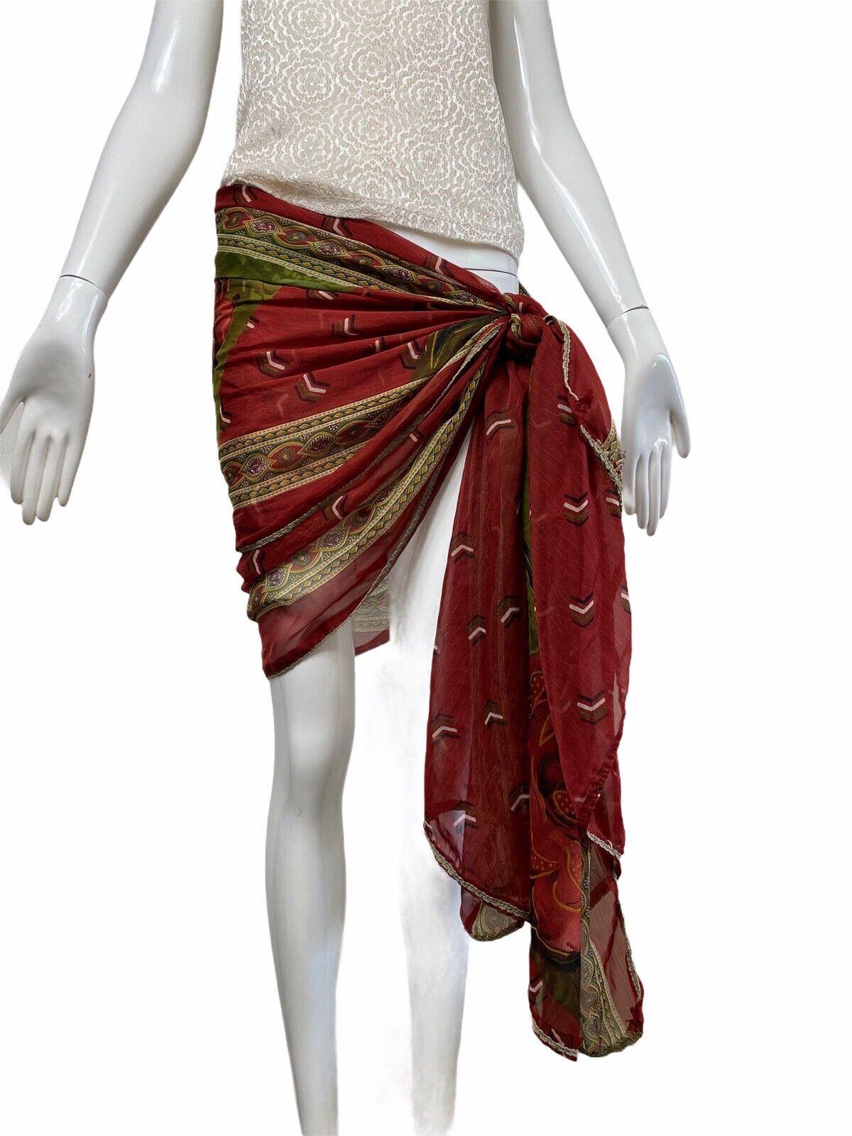 Vintage 80s 90s Overdize Floral Scarf Wrap Skirt … - image 3