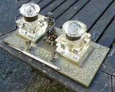 VICTORIAN. Brass Ink and Pen Stand with Cherub Surmount. Crystal Inkwells