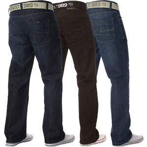 Enzo-Mens-Straight-Leg-Jeans-Belted-Regular-Fit-Denim-Trousers-Pants-All-Waists