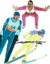 Eddie The Eagle EDWARDS Ski Jumping Olympic SIGNED 10x8 Montage Photo AFTAL COA