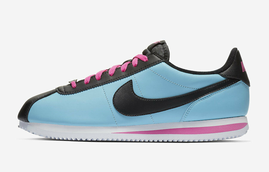 Nike Cortez Leather SOUTH BEACH MIAMI blueE GALE TEAL PINK BV2527-400 sz 9.5