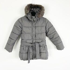 Details about Jacadi Paris Girls Puffer Down Faux Fur Lined Long Coat Jacket Gray Size 8y