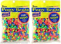Darice Beads Value Pack Pony Beads 9mm Plastic Craft Beads Neon Beads 2 Pack