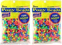 Darice Beads Value Pack Pony Beads 9mm Plastic Craft Beads Neon Beads 2 Pack