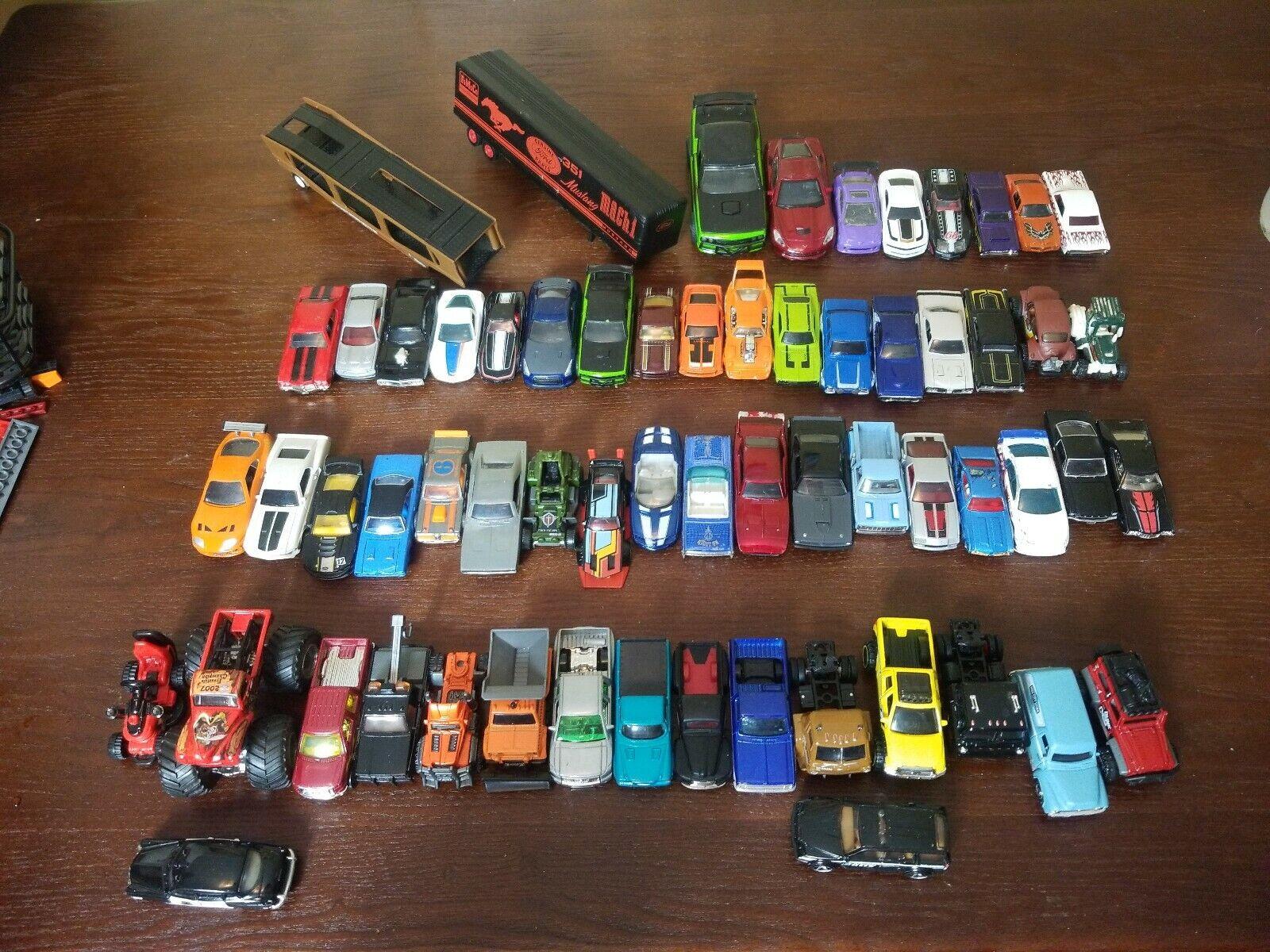 Lot de 62 voitures, camions, remorques JOUETS MATTEL matchbox hotwheels quelques rares Nice