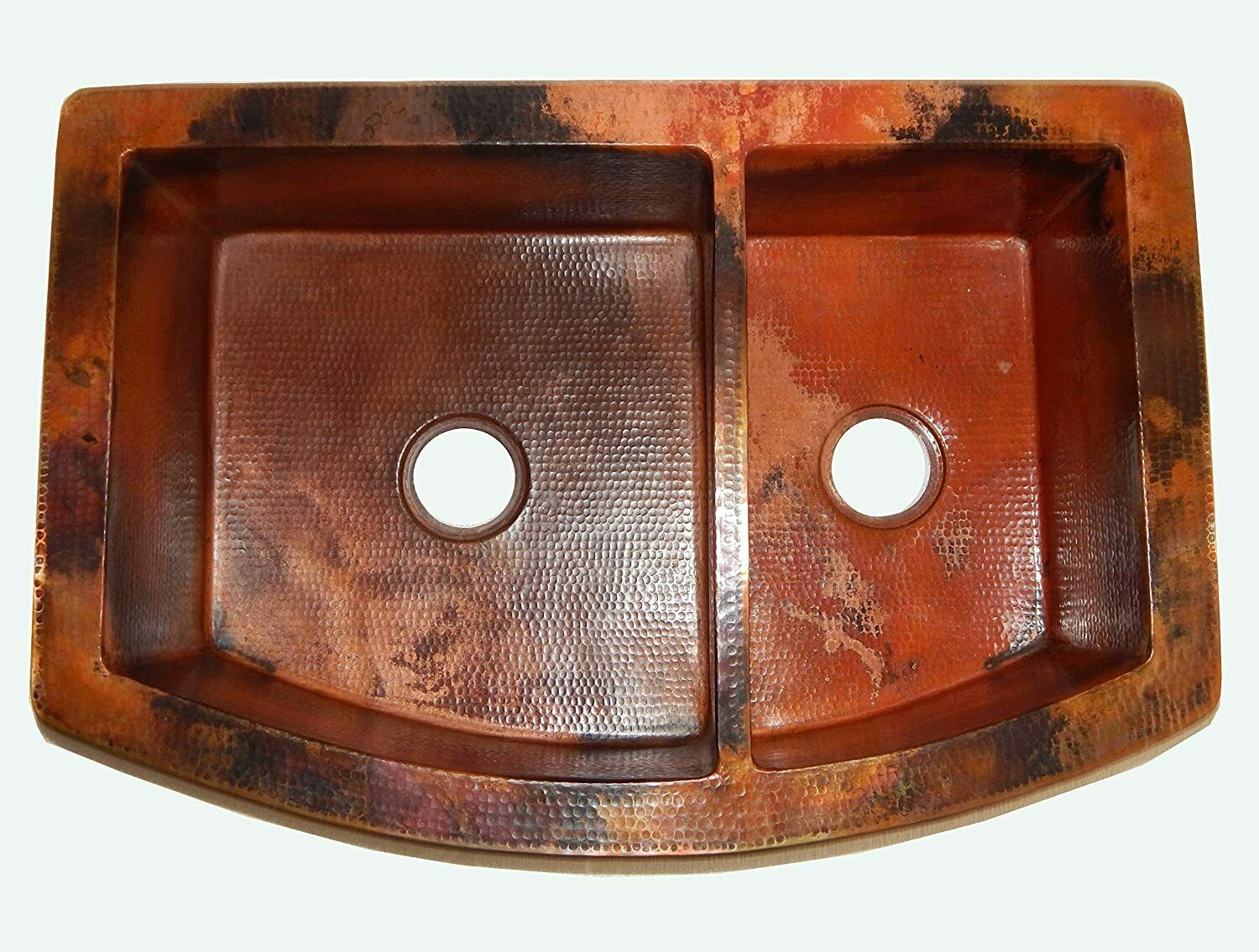 33 Tuscan Series 60 40 Offset Double Bowl Copper Farmhouse Sink For Sale Online Ebay
