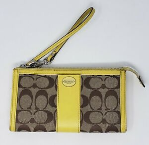 COACH-Yellow-Leather-Signature-C-Brown-Canvas-Wristlet-Clutch-Wallet