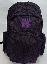 New Womens Girls BILLABONG Backpack School Book Bag Leopard Black Grey Purple