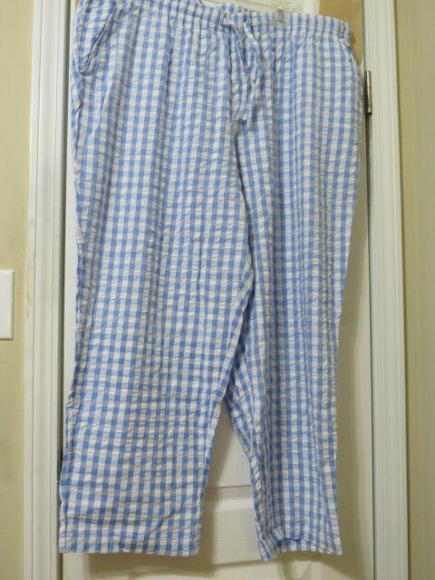 Nwt Women S Plus Size 26wp Seersucker Pants Blue White Check