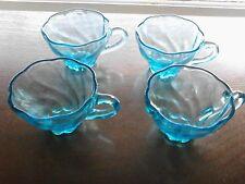 Hazel Atlas Capri Seashell Depression Glass Turquoise 4 Snack Set Cups