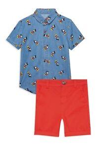 DISNEY-MICKEY-MOUSE-Denim-Shirt-amp-Red-Shorts-Set-Baby-Primark-Licensed-0-24-Mths