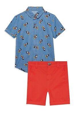 denim shirt red shorts