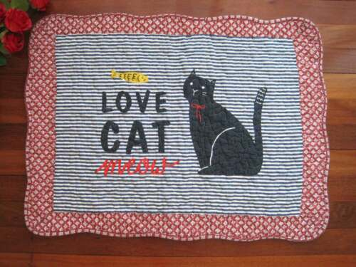 Lovely Cat Fish Blue White Stripe Patch Embroidery Cotton Quilted Floor Mat Rug