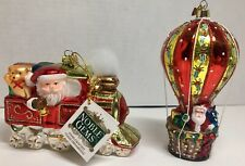 "KURT ADLER CITY GLAMOUR SANTA IN A GIFT BOX w// SAYING /""BELIEVE.../"" XMAS ORNAMENT"