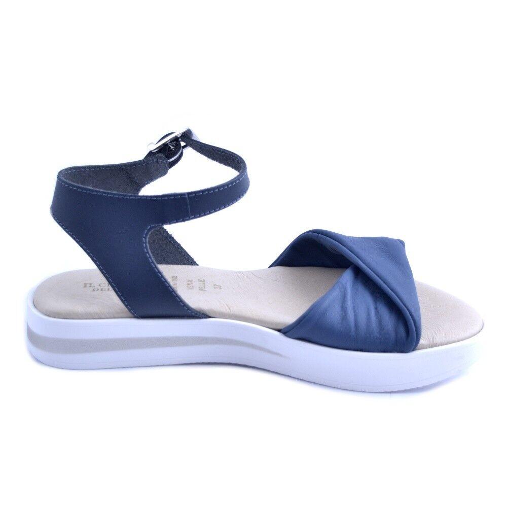 Scarpe sandali Ciabattino del borgo donna pelle blu blu blu gomma bianca Made in    Imballaggio elegante e robusto  0b2016