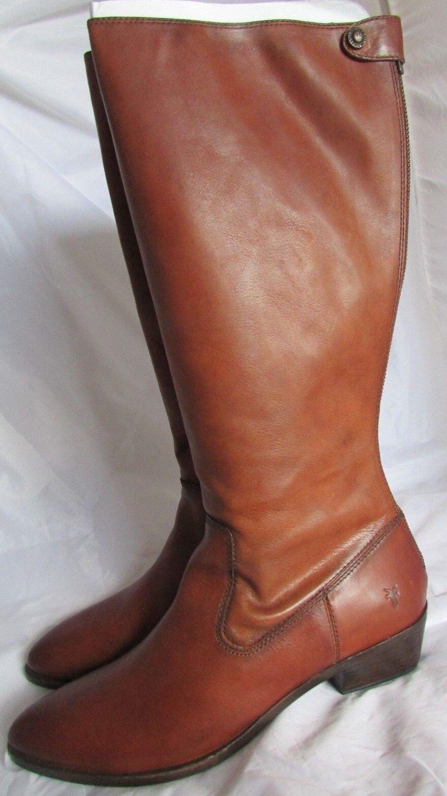Frye Knee High Boots Back Zipper Brown Leather  Ruby  Sz 11 B NIB  428