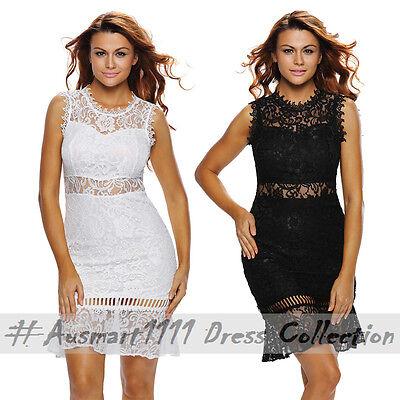 Black White Sleeveless Crochet Round Neck Slim Mini Bodycon Clubwear Party Dress