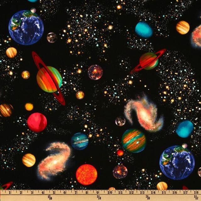 Fat Quarter Sonnensystem Weltraum 100% Baumwolle Quilten Stoff Timeless Treasures