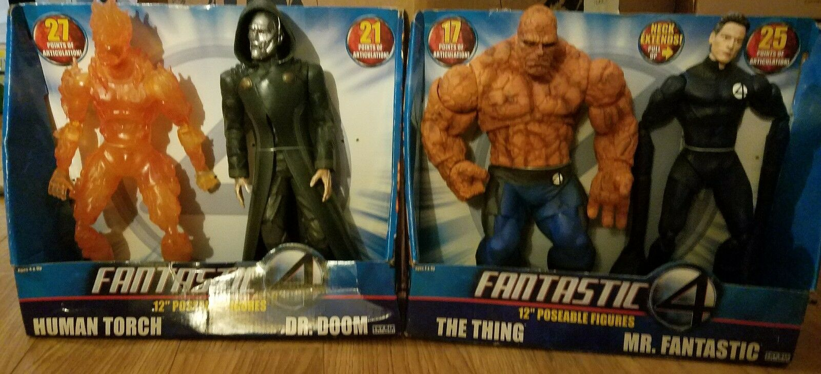 Fantastic Four 12  Poseable Figures Human Torch Dr. Doom The Thing Mr. Fantastic