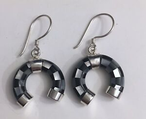Horseshoe-Mother-Of-Pearl-And-Black-Stone-Silver-Earring