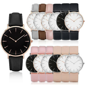 Casual-Mens-Women-Quartz-Analog-Watches-Gold-Stainless-Steel-Leather-Wrist-Watch