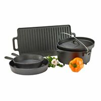 Cookware Set Cast Iron 5 Piece Gourmet Dutch Oven Home Camp Skillets Griddle