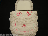 Beautiful Pram Quilt And Pillow Set Suitable For Most Prams White Shocking Pink