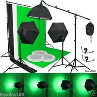 Photo Studio Backdrop 3color Muslin 3Softbox Photo Video Lighting Studio Kit