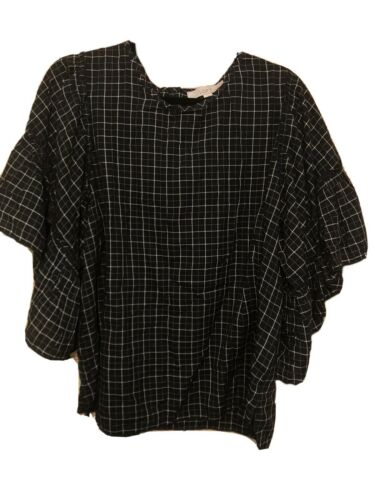 LOFT Short Bell Sleeve Black And White Plaid Butto