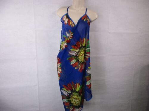 Women/'s M Chiffon Spaghetti Strap Cover-Up Blue Floral Wrap For G /& PL NEW