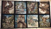 N American Wildlife 100% Cotton Fabric Panel 8 Block Free Ship Us 23.5 X 44 Inch