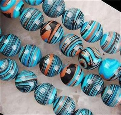 8mm Blue Stripe Turkey Turquoise Gem Round Loose Bead 15inch ##QF320