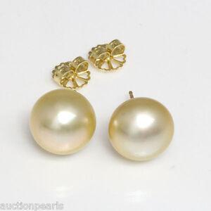 Image Is Loading South Sea Pearl Golden Stud Earrings 14 Mm