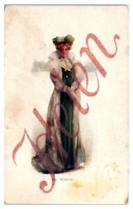 Early-1900s-Helen-in-a-Fur-Coat-and-Green-Dress-Winter-Postcard