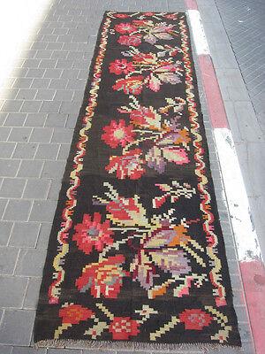Special bessarabian runner kilim rug hand woven antique 327x92-cm
