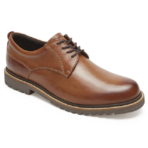 ROCKPORT MARSHALL LEATHER PLAIN TOE MEN'S COGNAG LEATHER MARSHALL OXFORD WIDE(W), H80118 469245