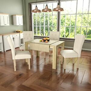 Image Is Loading Dining Table Amp 4 Chairs Fabric Seat Kitchen