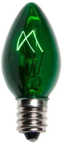 Box of 100 C7 Green Triple Dipped Transparent Christmas Bulbs