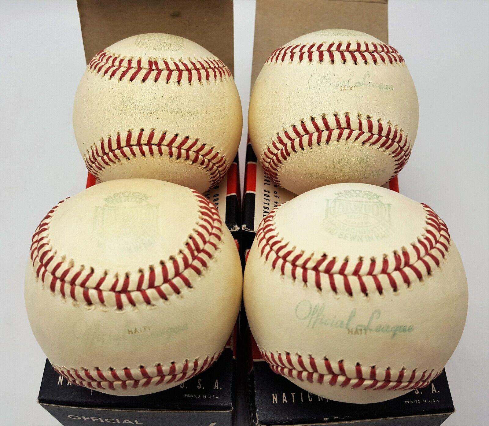 Vintage Nuevo NOS Lote de 4 N º 90 Oficial Harwood Baseballs en Cajas Originales