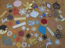 Mixed Lot 25 Christmas Cut Outs Paper & Card Snowflakes Baubles Reindeer Doves