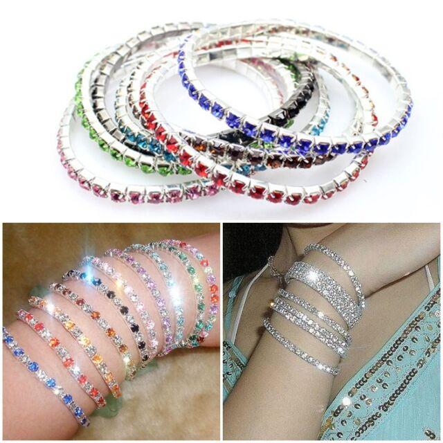 Fashion Tennis Silver Rhinestone Dazzling Wedding Bridal Bangle Stretch Bracelet