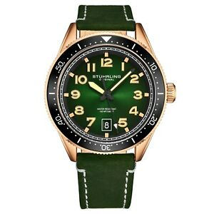 Stuhrling-Men-s-Quartz-Green-Dial-Luminous-Hands-Markers-Green-Leather-Watch