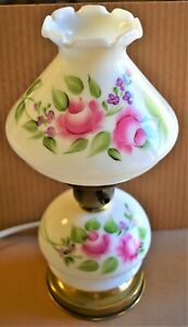 Vtg-White-Double-Globe-Hurricane-Lamp-with-Pink-Purple-and-Green-Floral-Design