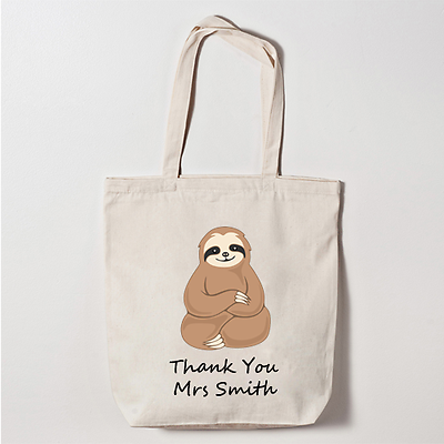 Personalised /'Sloth/' Canvas Tote Bag