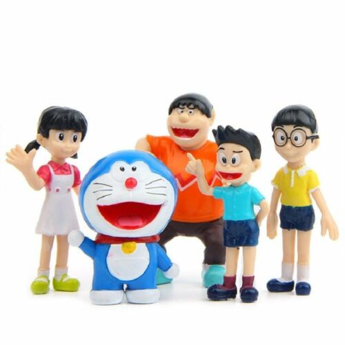 DORAEMON Set 5 Personaggi Action Figure Statuette PVC